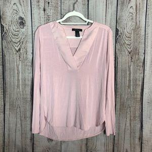 WHBM Pale Pink Vneck Sheer Dressy Blouse XS